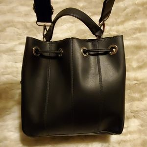 Zara black faux leather crossbody bag
